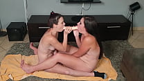 two sluts dual dildo gagging 9 min