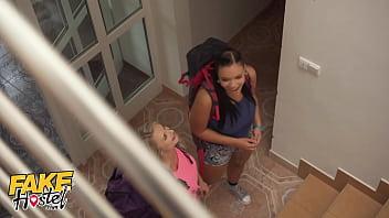 Fake Hostel Secret Affair Turns into Bed Bunk Threesome with Lily Joy & Sofia Lee 12 min
