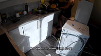 Horny wife seduces a plumber in the kitchen while her husband at work. 7 min
