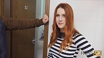 HUNT4K. Belle with red hair fucked by stranger in toilet in front of BF