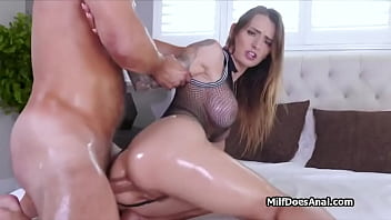 Lubed big tit milf enjoys perfect anal in lingerie 6 min
