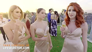 Three bridesmaids with wet tight pussies and one cock 10 min