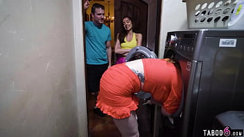 Stepsister and stepson find mom being stuck in the dryer and play a game 6 min
