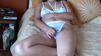 The niece of my Latin wife in her bedroom masturbating on her, I enter and discover her, she is so horny she was asking me to take my cock out and jerk me off, she wants me to cum
