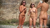Sexy family exhibitionist sisters naked on the public beach!