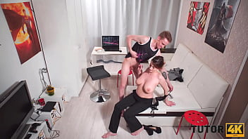 TUTOR4K. Tricky guy lures sexy tutor with delicious tits into quick sex 10 min