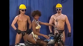 Ebony Babe Gang Banged at Bizarre Retro-style Party 7 min