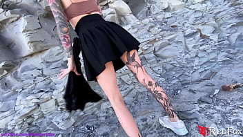 Tattooed Girl Fingering Pussy by the Sea - Outdoor