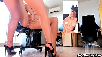 Blonde Co-workers Squirting On Each Other's Feet In The Office
