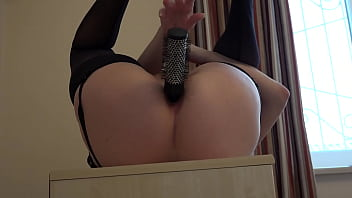 Anal masturbation with a comb. Busty girl fucks her ass in different positions Home fetish