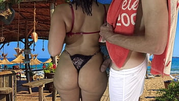 Whose wife is she ? Sexy Mom liked my Dick on her Big Hips as we Danced Together on Beach !