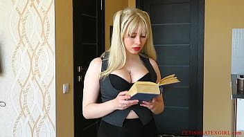 Blonde Selesta is reading a book and posing in stockings and a transparent skirt 22 min