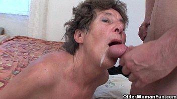 Hairy granny loves anal sex 5 min