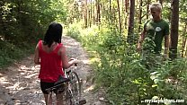 Busty biker chick Terry gets nailed in woods 9 min