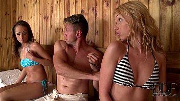 Lina Napoli & Sophie Lynx In A Hot Sauna Hardcore Threesome