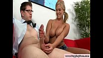 CFNM young blonde gives hj to a lucky dude