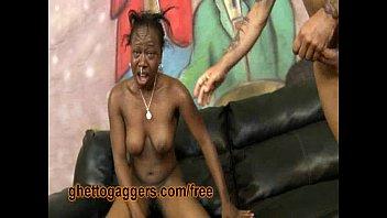 Ebony Flo Is Throated And Slammed By White Dicks