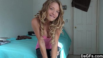 Home alone, Hot teen gets orgams on webcam
