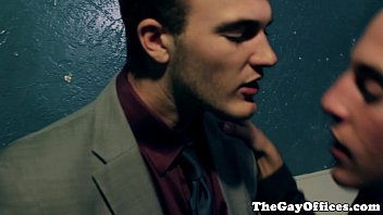 Gay office hunk drooling all over cock