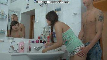 Cute lovely girl on high energy bathroom fuck scenes