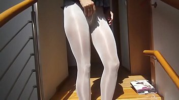 Sexy woman with sexy legs putting on 8! layers of pantyhose 11 min