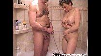 Busty grandma sucks grandpa's tiny cock