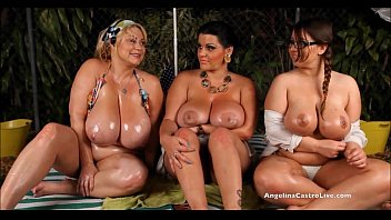 Angelina Castro OutDoors Oily ThreeSome and Sex Stories! 11 min