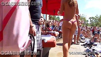 Super sexy redhead with amazing bubble butt in a tiny thong bikini 78 sec