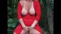 Exhibition of gorgeous mature bitch outdoor. Amateur older
