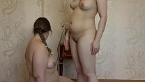 The girl licks her fat girlfriend pussy and masturbates her dildo