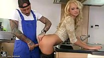 Desirable blonde housewife gets boned by tattooed worker in kitchen