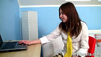 Shy Angela - Teeny masturbating and dildoing in front of her laptop