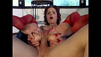 Woman in red lingerie tied up and deepthroated
