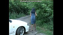 Hot brunette in sex outdoor video