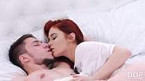 Ravenous Redhead Heather Dew indulges in cock sucking & cowgirl rides