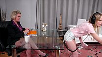 Cleaning Woman And The Mature Boss Having Sex In The Office - Scarlett Sage and Dee Williams