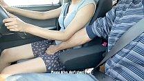 Cute Beb Fingered & Giving Handjob while Highway Drive.