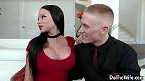 Beautiful brunette wife Raven Bay fucks in front of husband