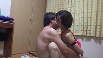 M Miyuki M wielding a straddle across the host