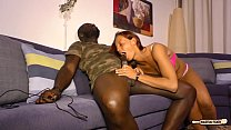 HAUSFRAU FICKEN - Black on white sex and cum on tits with mature German redhead