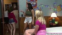 Blonde licks her stepsis friends pussy
