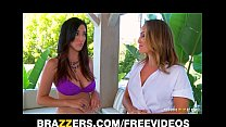Busty lesbian beauty fucks her sexy masseuse hard with strap-on