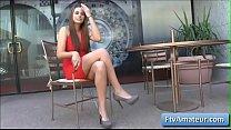 Blonde cutie amateur Aveline wearing a sexy red dress fnger fuck her pierced pussy in public