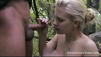 Amateur blonde gets fucked in the middle of the woods