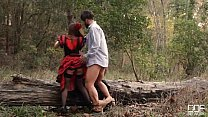 Russian brunette takes cock in the woods dressed as a flamenco dancer