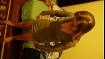 Young polish blonde teen girl putting on her pantyhose and dress, dressing up