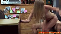 Facialed amateur babe fucked in pawnshop