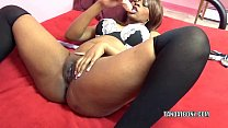 Black hottie Solah LaFlare stuffs her twat with a big dong