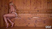 Serbian sauna lover Cherry Kiss sucks a Dick in a Gloryhole
