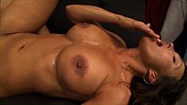 Big titted brunette sucks, fucks, and gets facial